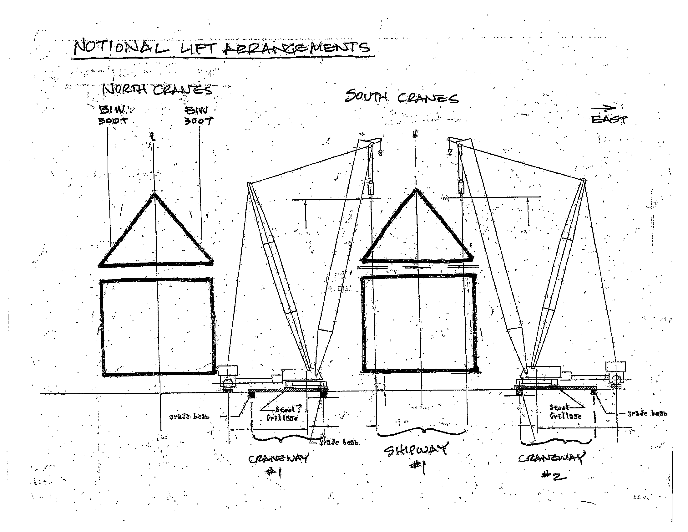 Hand drawn crane arrangement